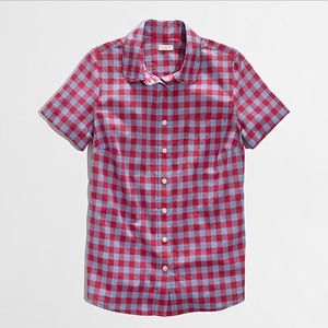 J Crew Plaid Short Sleeve Button Up Red and Blue